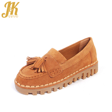 J&K 2017 Genuine Leather Women's Vulcanize Shoes Fringe Thick Soft Sole Pigskin Lining Nurse Flat Slip on Pregnant Woman Shoes