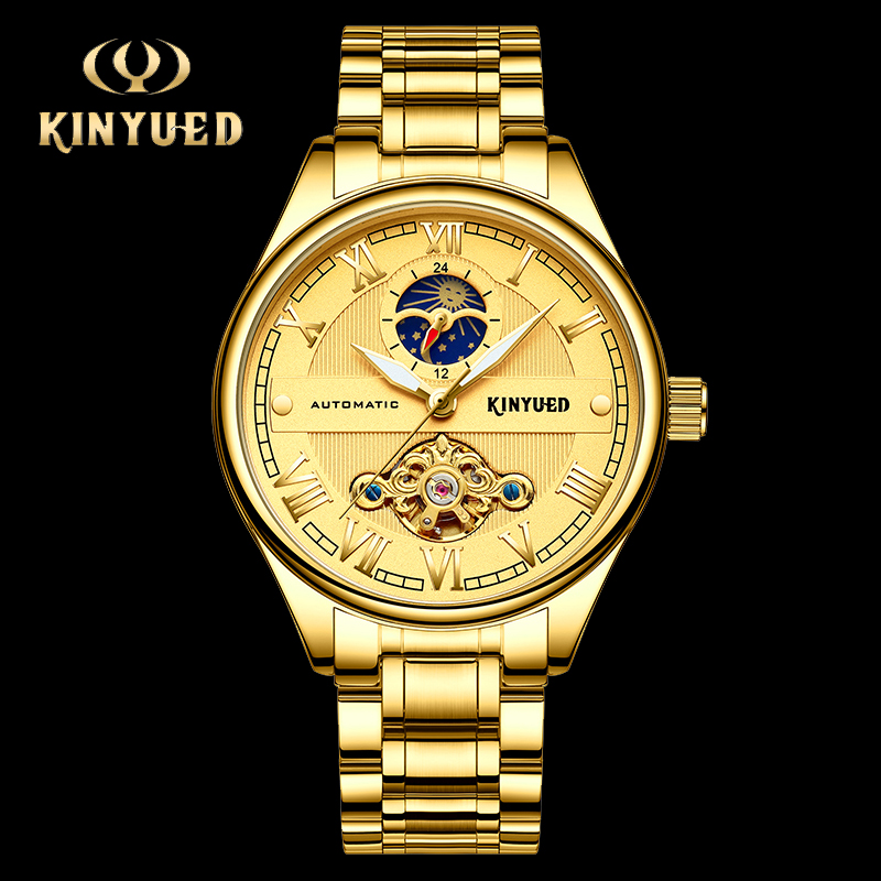KINYUED Business Automatic Watch Men Stainless Steel Mechanical Moon Phase Watch Gold Fashion Brand Male Clock Relogio MasculinoKINYUED Business Automatic Watch Men Stainless Steel Mechanical Moon Phase Watch Gold Fashion Brand Male Clock Relogio Masculino