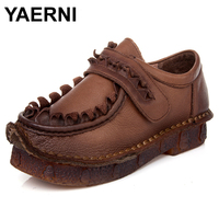 YAERNI Women S Shoes Flat Pointed Toe Slip On Loafers 100 Authentic Leather Ballerina Shoes Female