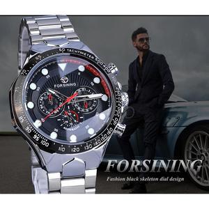 Image 3 - Forsining Fashion Men Watches Male Top Brand Auto Mechanical Watch Calendar Waterproof Sports Steel WristWatch Relogio Masculino