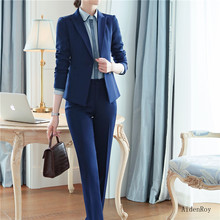 New 2019 Spring Summer Formal Elegant Women's Pants Suit Set Business Blazers Trouser Suits 2 Piece Work Wear Sets Office Ladies(China)