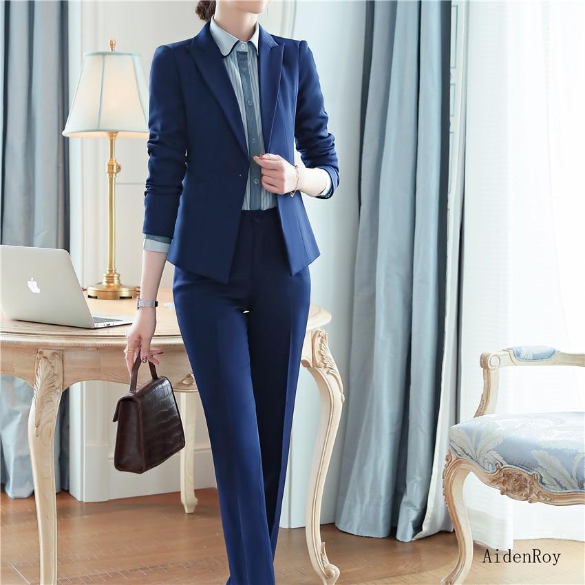 New 2020 Spring Summer Formal Elegant Women's Pants Suit Set Business Blazers Trouser Suits 2 Piece Work Wear Sets Office Ladies