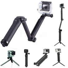 цена на 3 Way Grip Extension Arm Tripod Selfie Stick Handheld Monopod Folding Holder for GoPro 5 SJCAM SJ4000 action Camera accessories