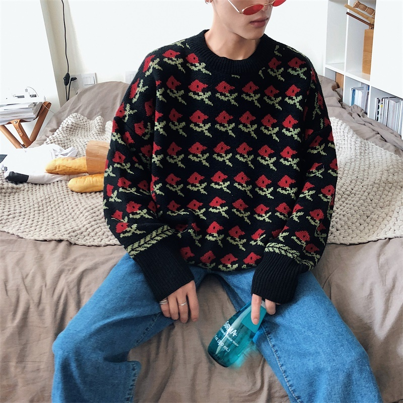 Fashion Casual Men 39 s Sweater Autumn And Winter New M 2XL Printing Wild Loose Pullover Black Pink Personality Youth Popular in Pullovers from Men 39 s Clothing