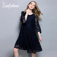 LADYBEES 2017 Spring Women Chiffon Plus Size 4XL Hollow Out Lace Dresses Elegant Casual O Neck
