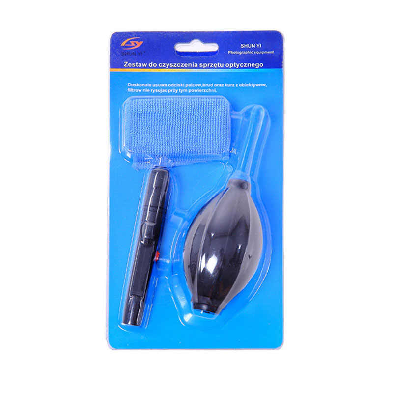 3 en 1 cámara portátil limpio Kit de paño de limpieza Cámara limpiador pluma aire juegos de accesorios para cámara teclado los teléfonos