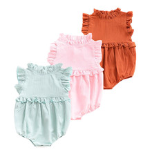 3 color baby girl Toddle Infant clothes Cotton Summer Outfits Ruffle sleeveless 1-3 years baby  Cute bodysuit summer Overalls