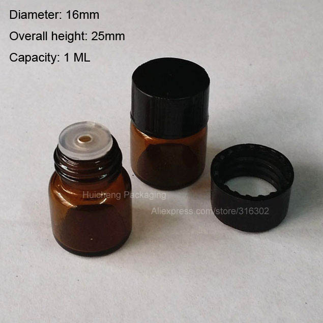 Hot Sale 100 x 1ML Mini Amber Glass Bottle with Orifice Reducer & Black Cap, 1/4 Dram Small Essential Bottle