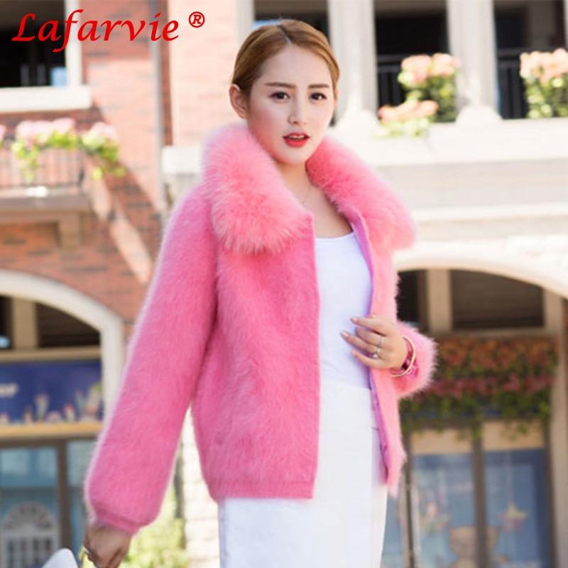 Lafarvie Fashion Casual Women Mink Cashmere Coat Quality Autumn Winter Turn-down Fur Collar Full Sleeve Slim Wool Female Tops