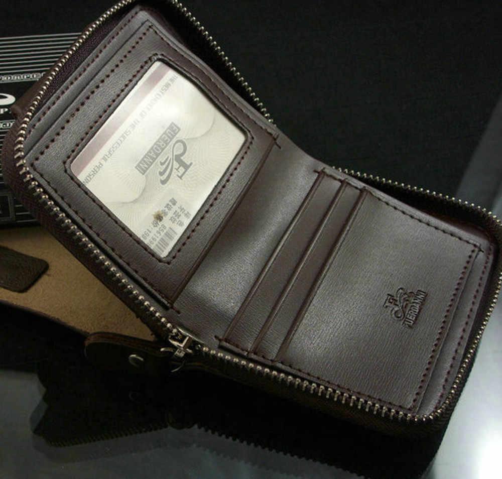 Мужской кожаный бумажник ID Card Holder Billfold кошелек на змейке сумки мужские кошельки на кнопке для мужчин кошелек клатч сумка