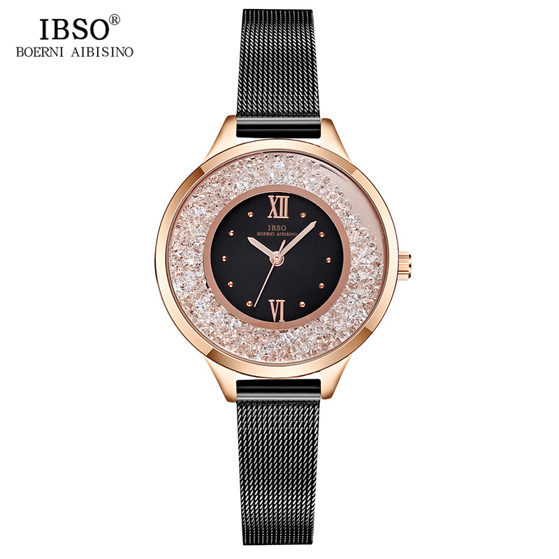 IBSO New Fashion Women Watches Stainless Steel Mesh Strap Ladies Quartz Watch Women Relogio Feminino Luxury Montre Femme 2018 ibso brand fashion ultra thin quartz watch women stainless steel mesh and leather strap women watches 2018 fashion montre femme