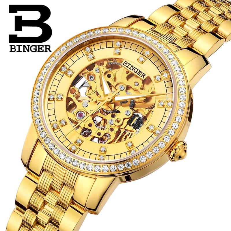 Бингер Смотреть Для женщин Элитный бренд Miyota Автоматическая механическое движение часы сапфир Водонепроницаемый женские часы B5051L1