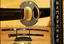 Black Steel Katana Full Tang Blade With Gold Carved Japanese Sword Sharp B258