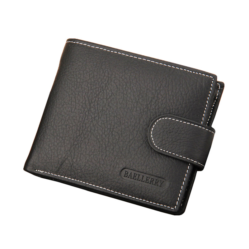 Baellery Men Wallet Genuine Leather Mens Wallets Luxury Solid Simple Style Coin Purse Man Card Holder Small Walet Male Wallet dalfr genuine leather mens wallets card holder male short wallet 6 inch cowhide vintage style coin purse small wallet
