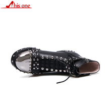 THIS ONE Punk Genuine Leather Boots Women Rivets Belt Buckle Shoe Square Heels Ankle Metal Round Toe Motorcycle Boot 43
