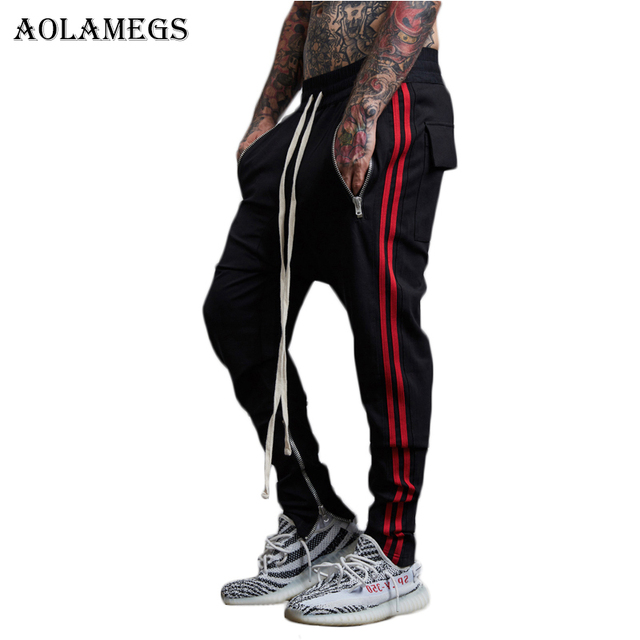 fde1cc7f9fffac Aolamegs Harem Pants Men Side Double Striped Zipper Pants Track Pants  Trousers Mens Elastic Waist Fashion Joggers Sweatpants