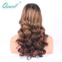 Полный шнурок парики 130% Ombre 1B/4 Highlights27 # блондинка человеческих волос с ребенком волосы средней Кепки полный парик Qearl