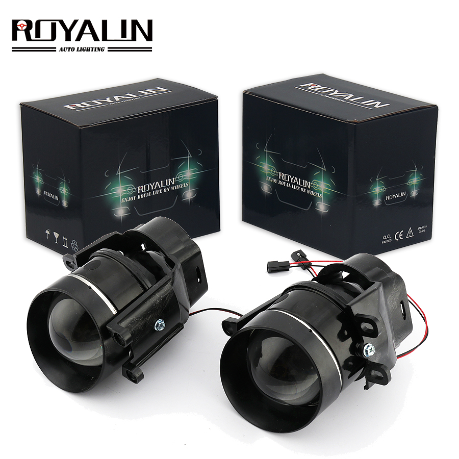 ROYALIN For Camry Fog Lights Lens Bi-xenon H11 D2S Halogen Projector For Toyota Corolla Peugeot Citroen Prius Car Fog Lamp Retro