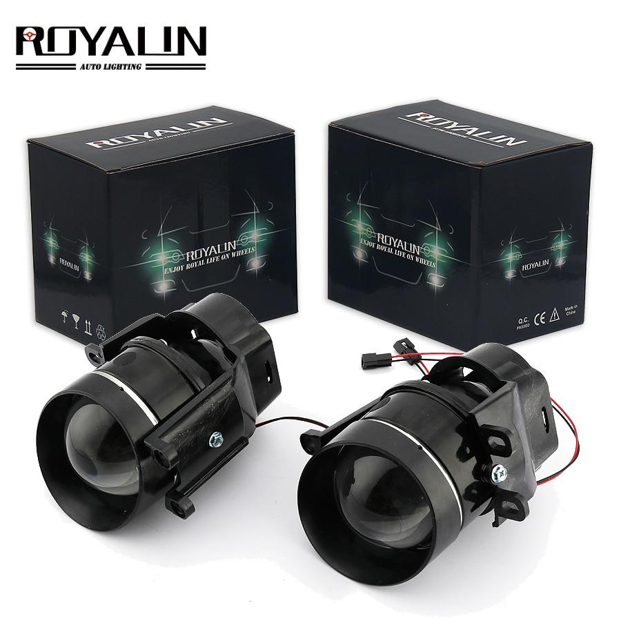 ROYALIN For Camry Fog Lights Lens Bi-xenon H11 D2S Halogen Projector For Toyota Corolla Peugeot Citroen Prius Car Fog Lamp Retro