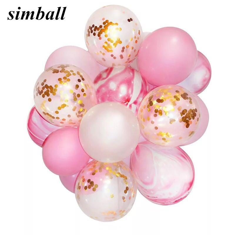20pcs/lot 12inch Unicorn Agate Balloon Gold Confetti Ballon Happy Birthday Balloon Baby Shower Decoration Kids Party Supplies