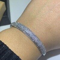 Классическая Лидер продаж сверкающих ювелирных изделий 925 пробы серебро заполнить проложить 5A циркония CZ браслет с обещанием для женщин св
