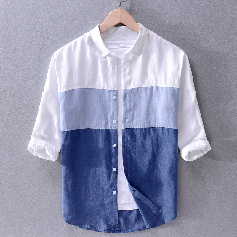 2019 Mens Linen Casual Color Matching Three-quarter Sleeve Shirt Quality Loose Stitching Flax Trend Men Shirt Brand Tops Chemise