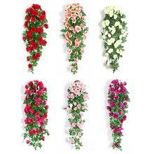 Зеленый лист с искусственным розовым цветком букет пластиковая искусственная цепочка цветов для домашнего свадебного декора гирлянда для развешивания цветов