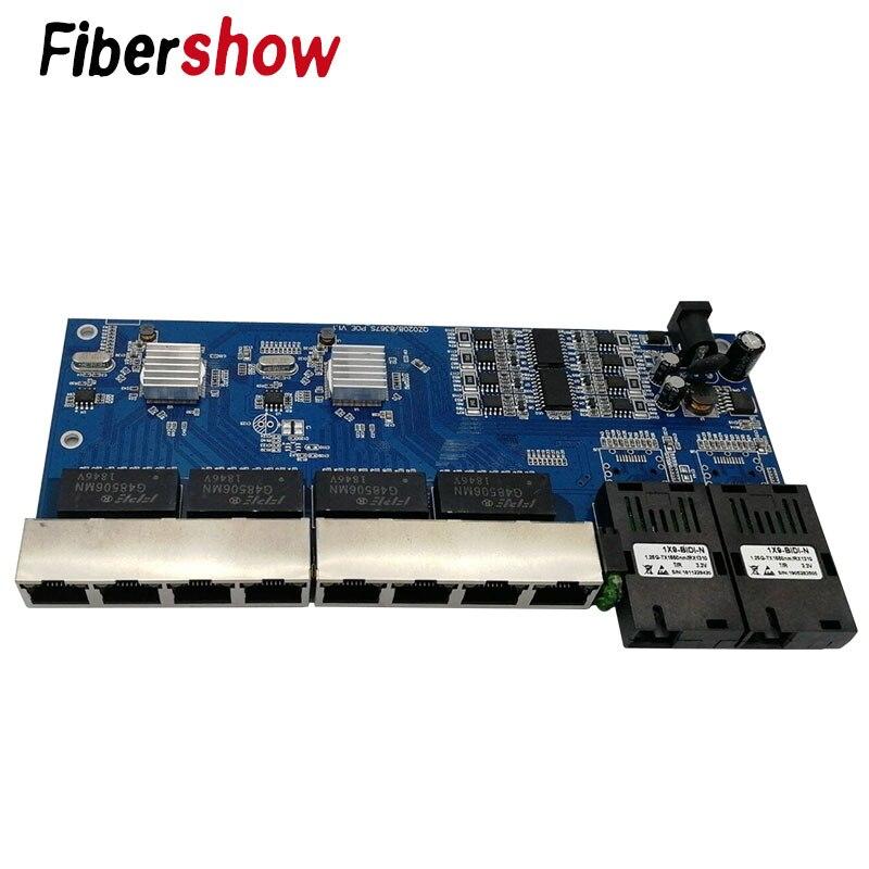POE 8 RJ45 2 SC fibre Gigabit Ethernet commutateur Fiber optique monomode Port UTP 10/100/1000 M carte PCBA