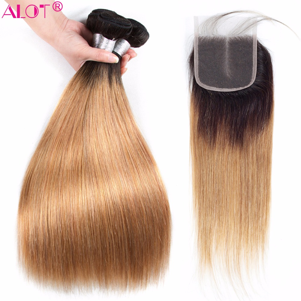 Alot 2 3 Ombre Bundles With Closure 1B/27 Brazilian Straight Hair Bundle With Closure Remy Human Hair Weave Bundles With closure-in 3/4 Bundles with Closure from Hair Extensions & Wigs    1
