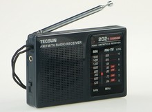 Top Quality TECSUN R 202T radio Pocket AM FM TV Audio Radio black Portable Free Shipping