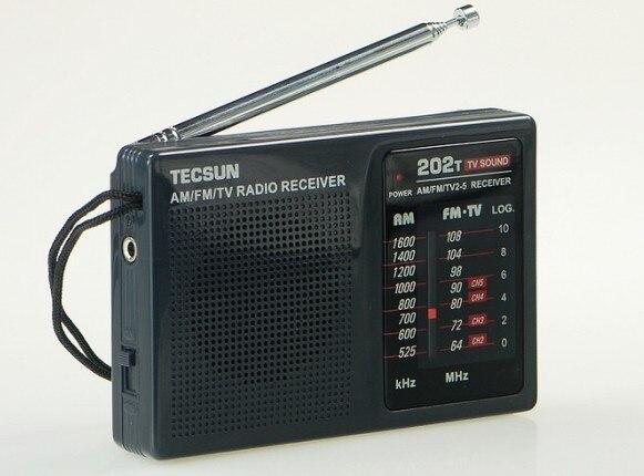 Top Quality TECSUN R 202T radio Pocket AM FM TV Audio Radio black Portable Free Shipping