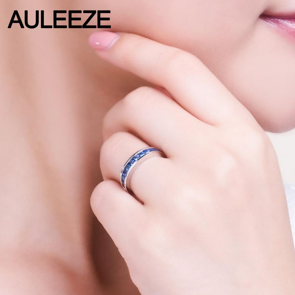 Princess Cut 1CTTW Real Natural Sapphire Wedding Band Solid 14K ...