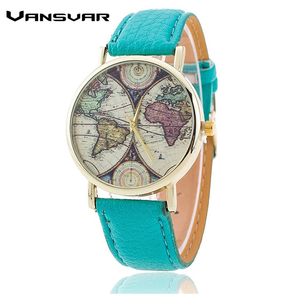 Buy vansvar brand fashion world map watch casual women quartz watch relogio for Women casual watches