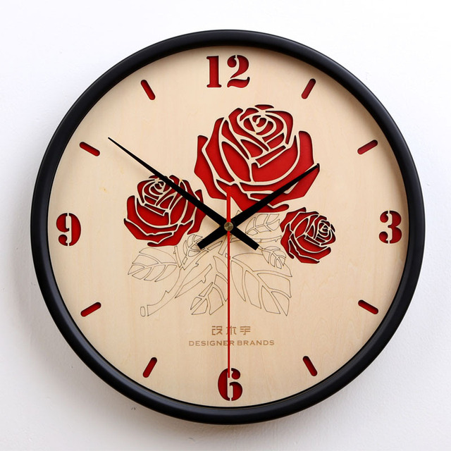 Red Rose Wall Clock Wooden Modern Design Minimalist Creative
