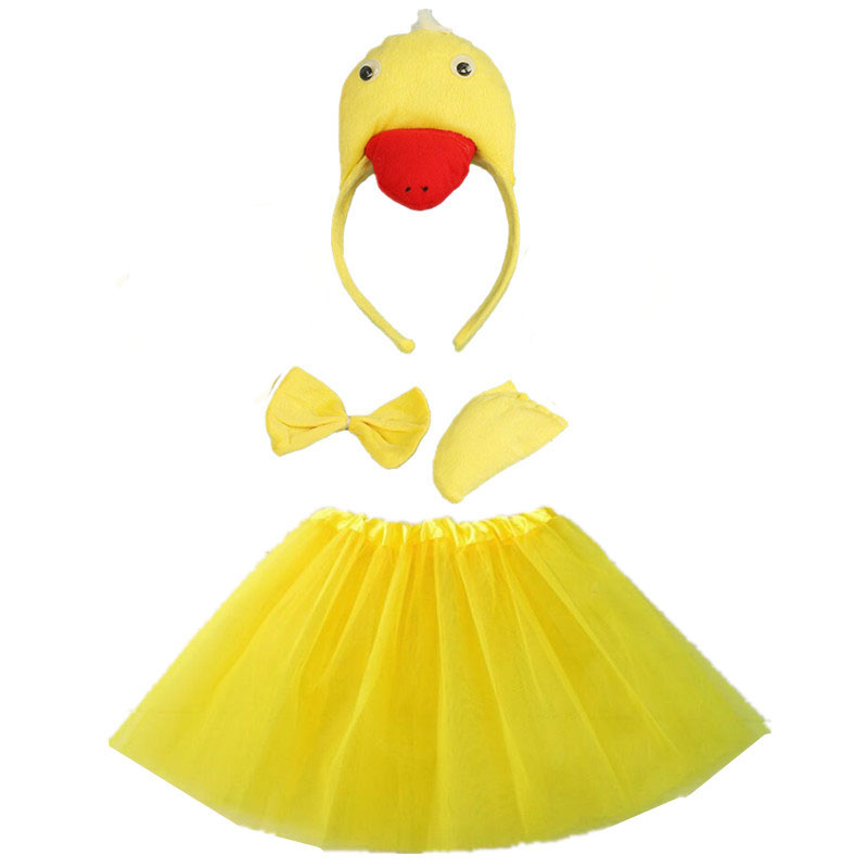 White Duck Cosplay Animals Costume Headband Bow Tail Paws Tutu Skirt Set  Kids Children Girl Party Props Carnival