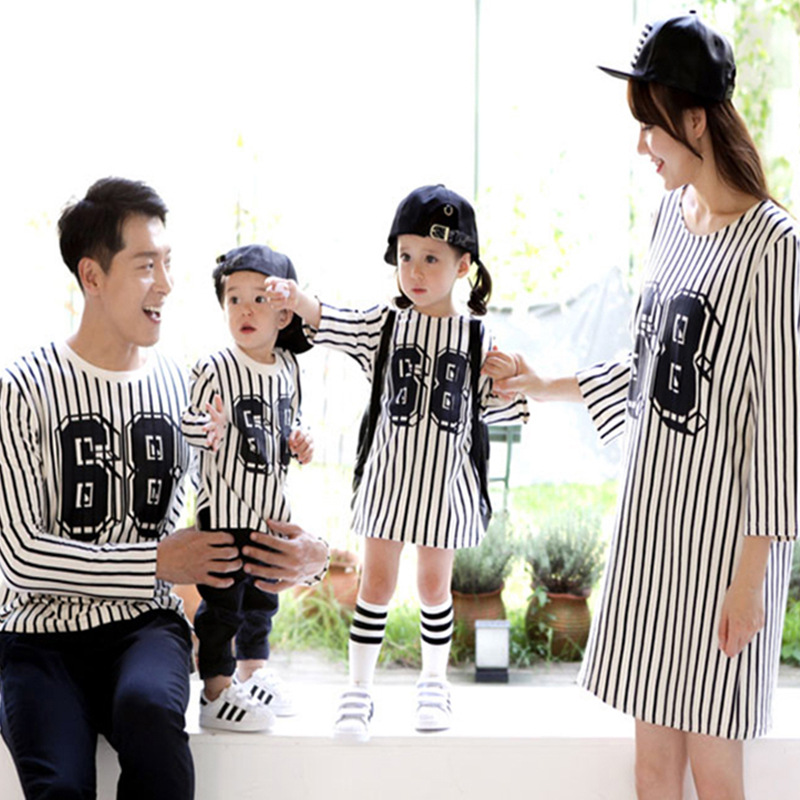 Outfits, And, Children, Striped, Mom, Suits