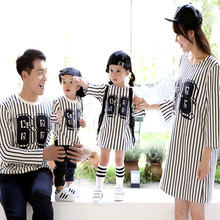 Father Mom Son Outfits Autumn Children Sporting Suits Girl Boys Tracksuit and Daughter Dress Shirt Striped Blouse