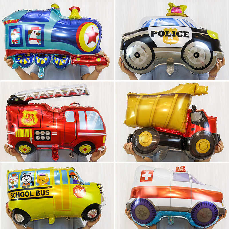 1pcs Large Cartoon Car Fire Truck Train Foil Balloons Aircraft rocket flying saucer UFO ballons Birthday Party Decorations Kids