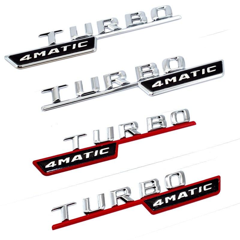 2 teile/los TURBO 4 MATIC Für Mercedes Benz AMG ML GLk Emblem Abzeichen Aufkleber Stamm Hinten Chrome Buchstaben Schwarz Silber rot farben