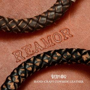 Image 4 - REAMOR New Classic Men Hand craft Genuine Leather Bracelet Stainless Steel Matte Button Clasp Bangles Jewelry Dropshipping