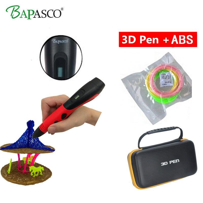 BAPASCO 3d peinture stylo 3d stylos abs 1.75mm affichage de LED pla filament graffiti 3d stylo magique conçu pour les enfants 3 d stylo