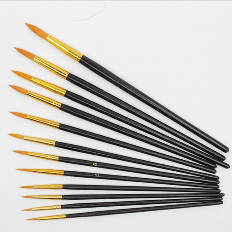 12 pcs Haute Qualité Nylon Cheveux Artiste Rond Pointu Peinture Pinceaux pour Artiste Aquarelle Dessin Acrylique Peinture À L'huile Outil