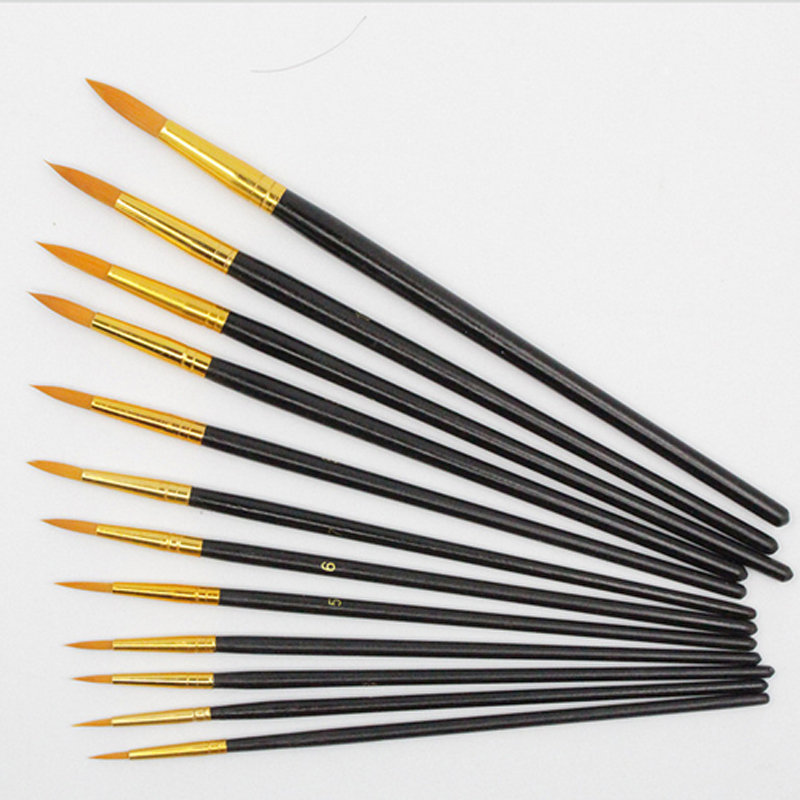 12pcs High Quality Nylon Hair Artist Round Pointed Paint Brushes Set for Artist Watercolor Drawing Acrylic Oil Painting Tool