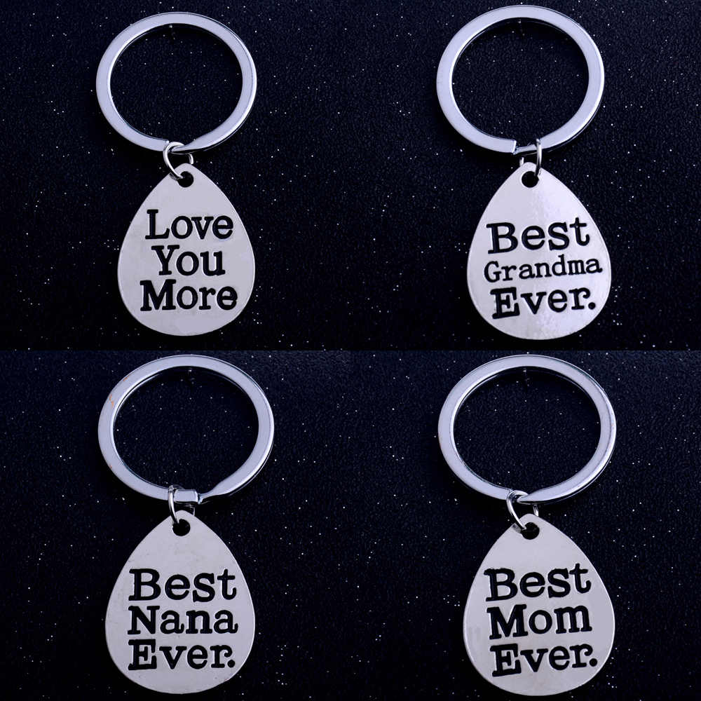 Best NANA Mom Dad Grandma Ever Gifts For Mothers Day Fathers Presents Keychain Keyring Water Drop Key Chain Key Ring Women Men