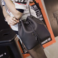 Fashion Women Messenger bags Casual Crossbody Shoulder Bags Ladies High Quality Black String Bucket Bag Women Leather Handbags