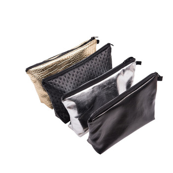 25PCS / LOT PU Leather Cosmetic Bag  Make up Bags Travel Women Portable Zipper Cosmetic Bag Makeup Pouch
