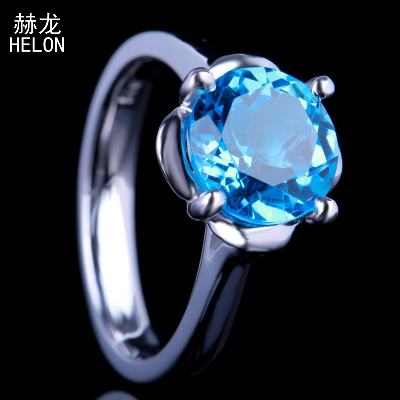 9mm Round Flawless Genuine Blue Topaz Fine Wedding Party Ring Real 925 Sterling Silver Prong Setting Women Trendy Jewelry Ring