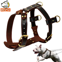 Genuine Leather Dog Harness Brown Walking Training Harnesses 23 34 5 Adjustable Chest Large Dogs Pitbull