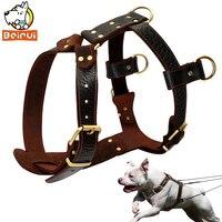 Genuine Leather Dog Harness Brown Walking Training Harnesses 23'' 34.5'' Adjustable Chest Large Dogs Pitbull Alaskan Malamute