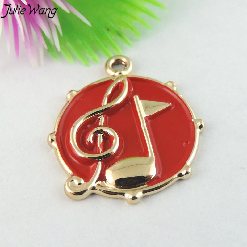 White Red Enamel Musical Notes little Pendant Charm Music Jewelry -1
